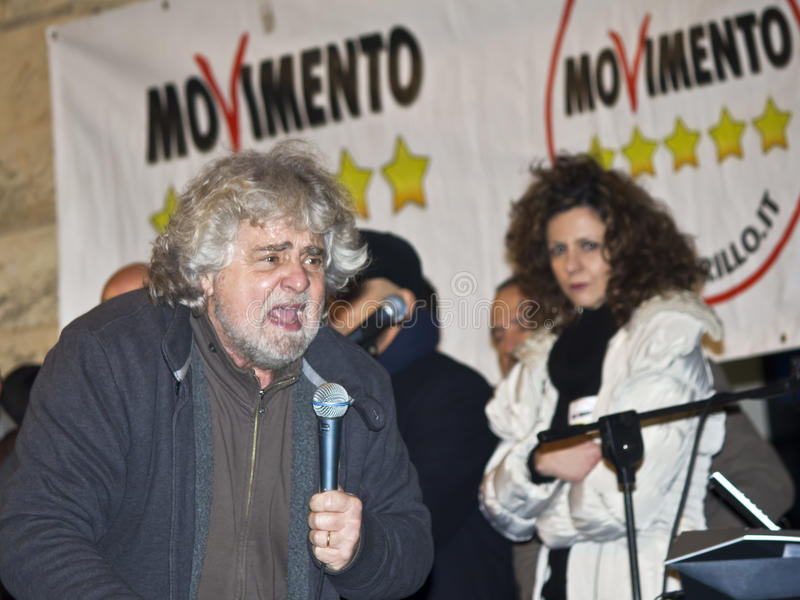 Beppe Grillo angry,screaming,on stage, royalty free stock photo