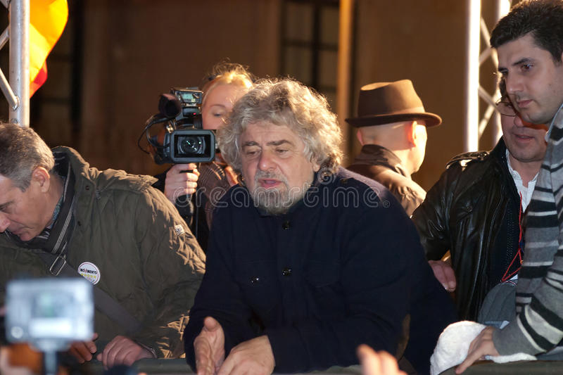 Beppe Grillo, the leader of the italian political movement Movimento 5 stelle during his electoral tour royalty free stock image
