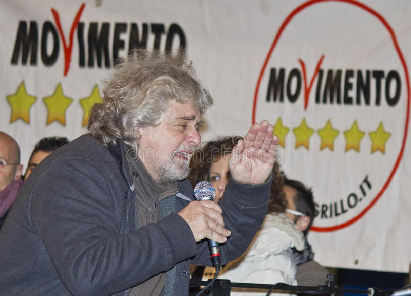 Beppe grillo on stage,movement five stars royalty free stock photos