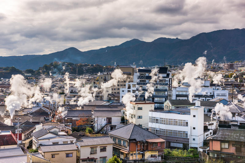 Beppu, arquitetura da cidade de Japão foto de stock