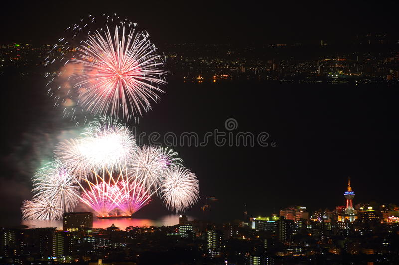 Beppu des feux d'artifice photo libre de droits