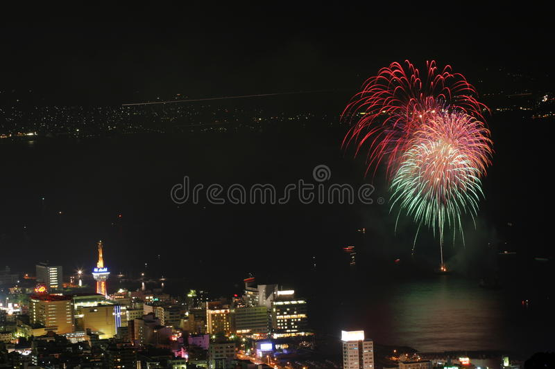 Beppu des feux d'artifice images stock