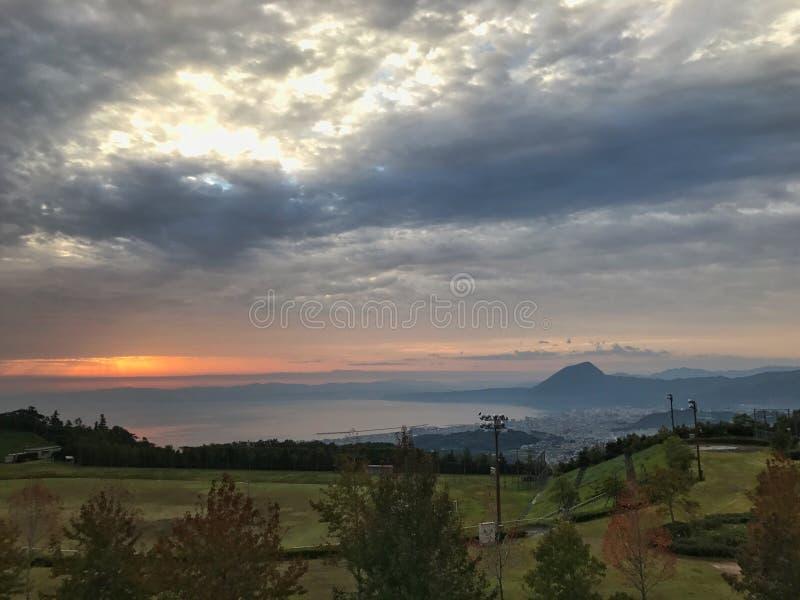 Beppu por la mañana fotografía de archivo libre de regalías
