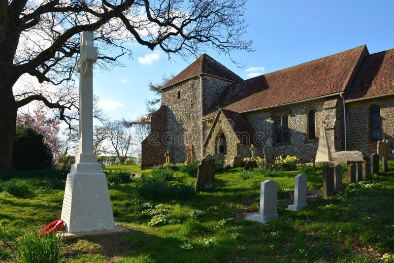 Bepton、西萨塞克斯郡、英国、圣Marys教会&墓地 免版税库存图片