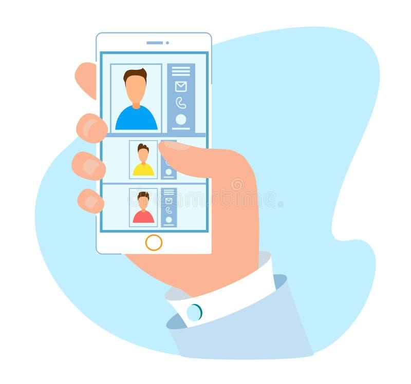 Bequeme Kontakt-Buch-Anwendungen für Mobile stock abbildung