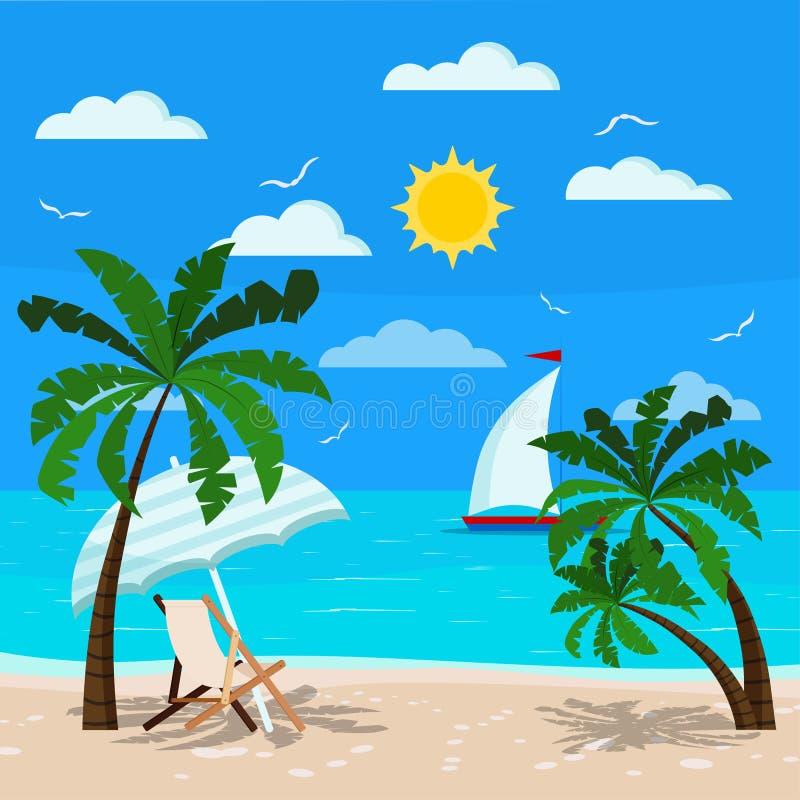 Bequemer Wagenaufenthaltsraum mit Sonnenregenschirm auf Meerblick lizenzfreie abbildung