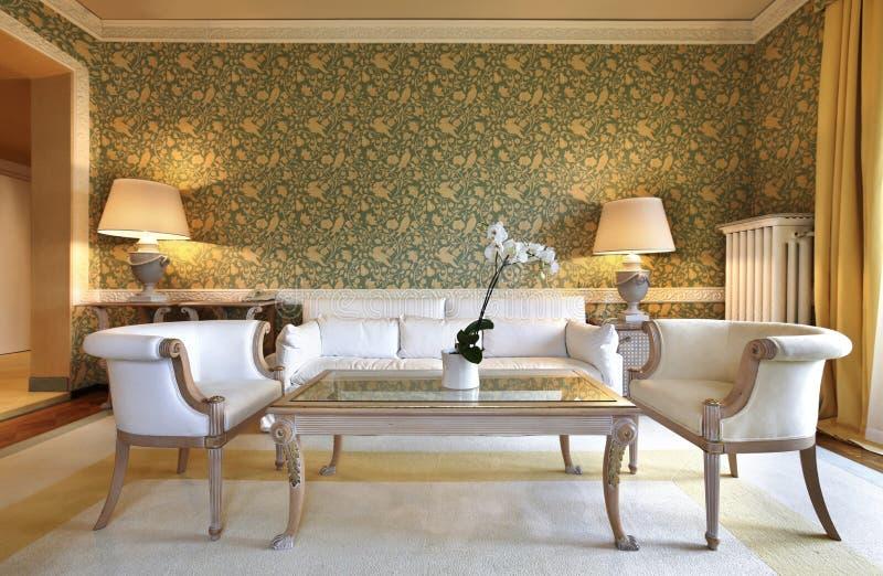 Bequemes klassisches Wohnzimmer lizenzfreie stockbilder