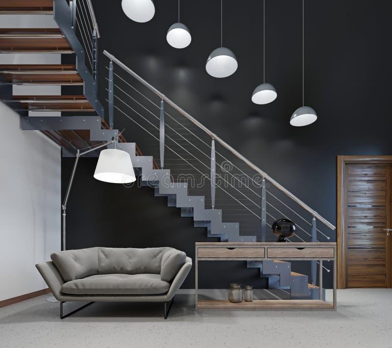 Bequemes modernes Sofa in der Lobby nahe der Treppe zum zweiten Stock vektor abbildung