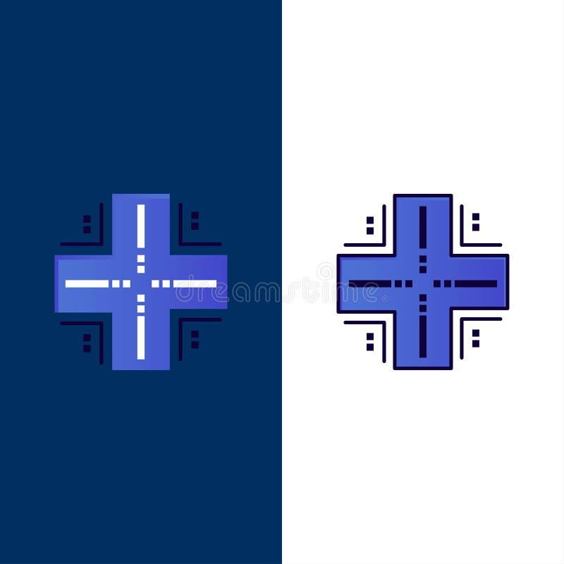 Beräkna databas, Datacenter, värddator, serversymboler Lägenheten och linjen fylld symbol ställde in blå bakgrund för vektorn stock illustrationer