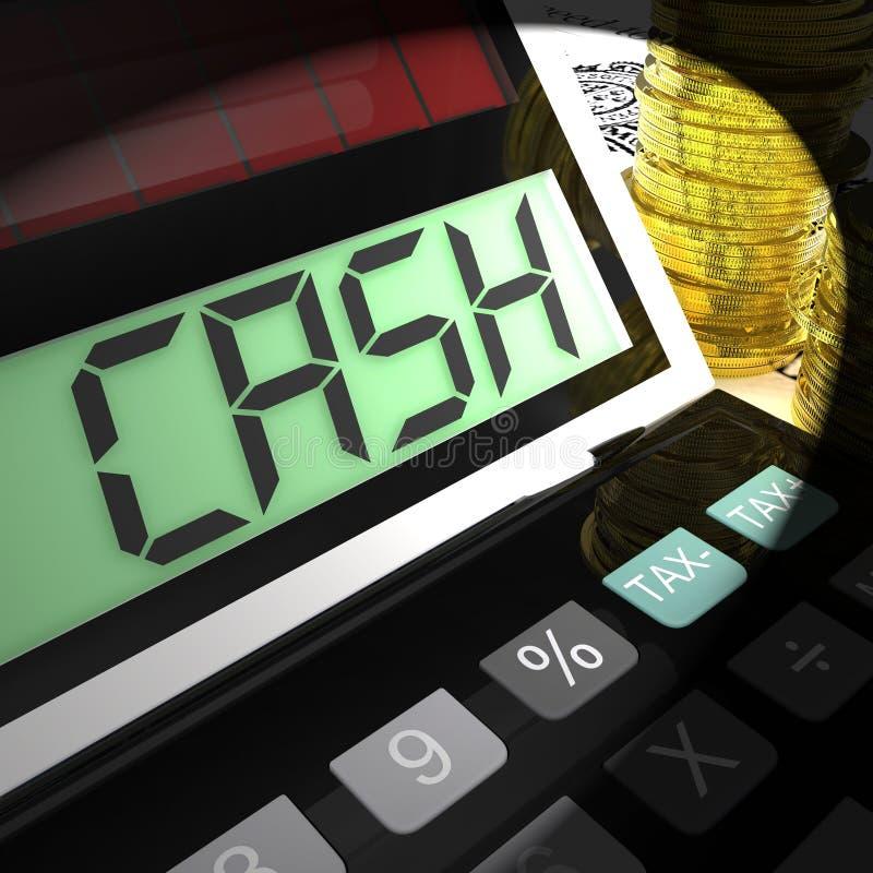 Beräknad kassa visar pengarförtjänsten och utgifter stock illustrationer