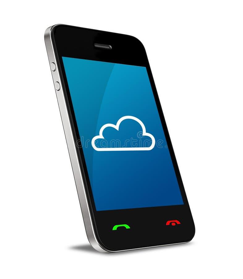 Beräknande anslutning för moln på mobiltelefonen arkivbild