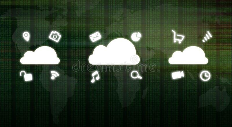 Beräknande begrepp för globalt moln som visar massmediasymboler över nummer för binär kod och världskartabakgrund Stor informatio stock illustrationer