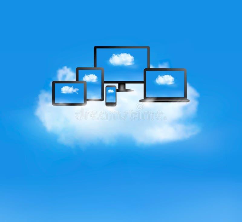 Beräknande begrepp för moln. royaltyfri illustrationer