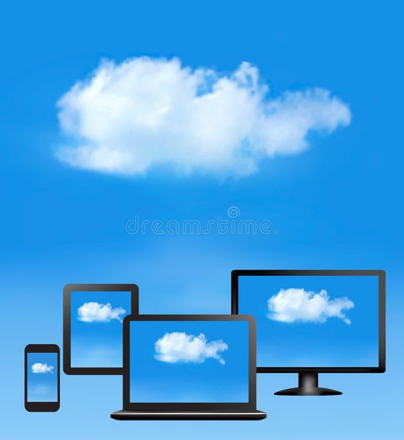 Beräknande begrepp för moln. stock illustrationer