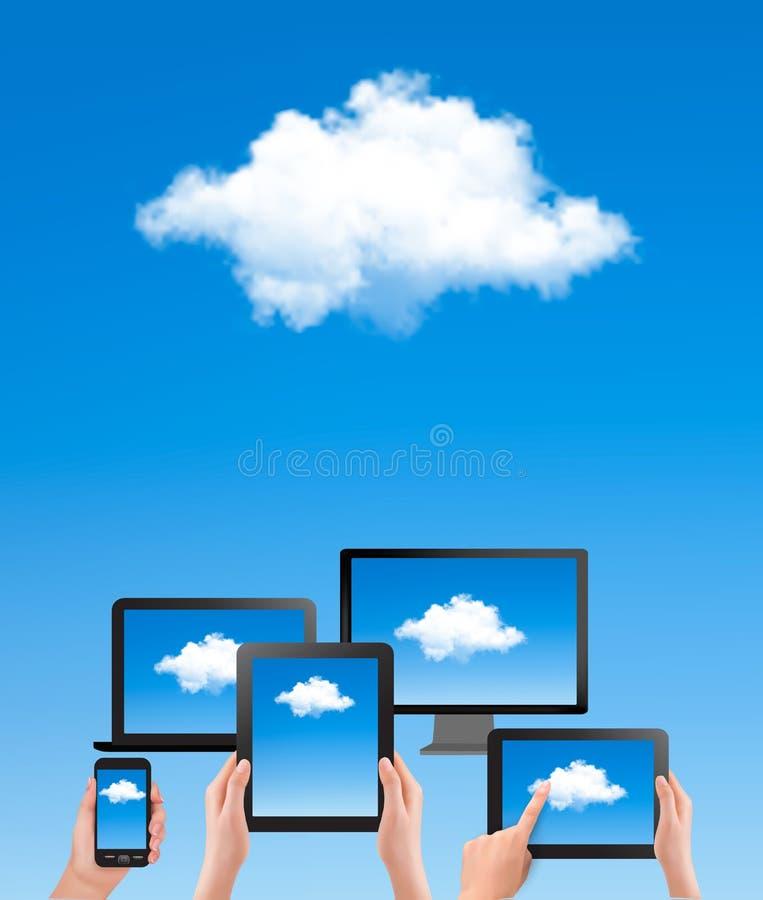 Beräknande begrepp för moln. Hand med blå himmel och wh stock illustrationer