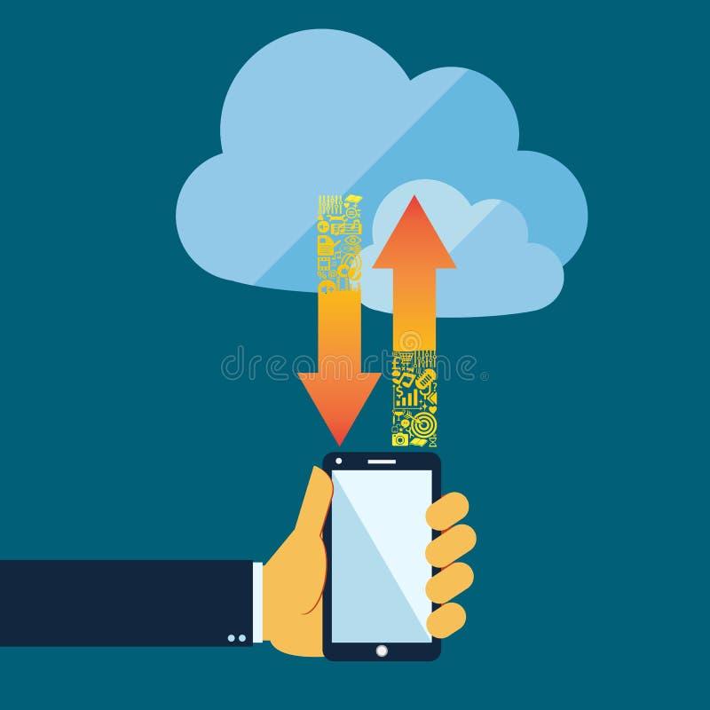 Beräknande begrepp för plant stilmoln med mobiltelefonen stock illustrationer