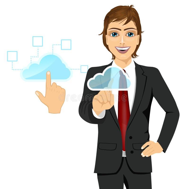 Beräknande begreppsaffärsman för moln som trycker på symbolen stock illustrationer