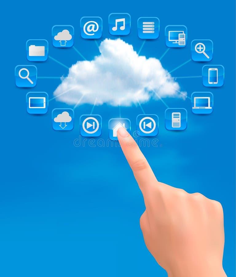 Beräknande begreppsbakgrund för moln med handen. royaltyfri illustrationer