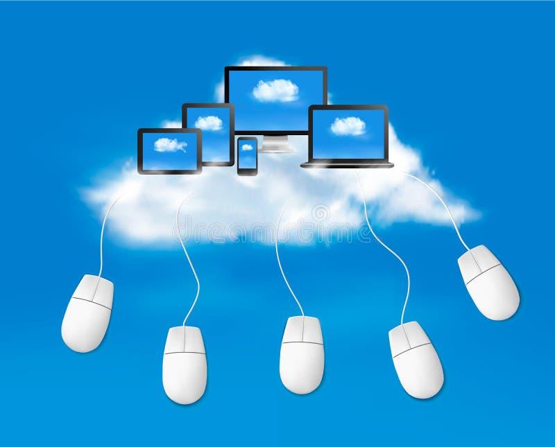 Beräknande begreppsbakgrund för moln med mouses. Ve royaltyfri illustrationer