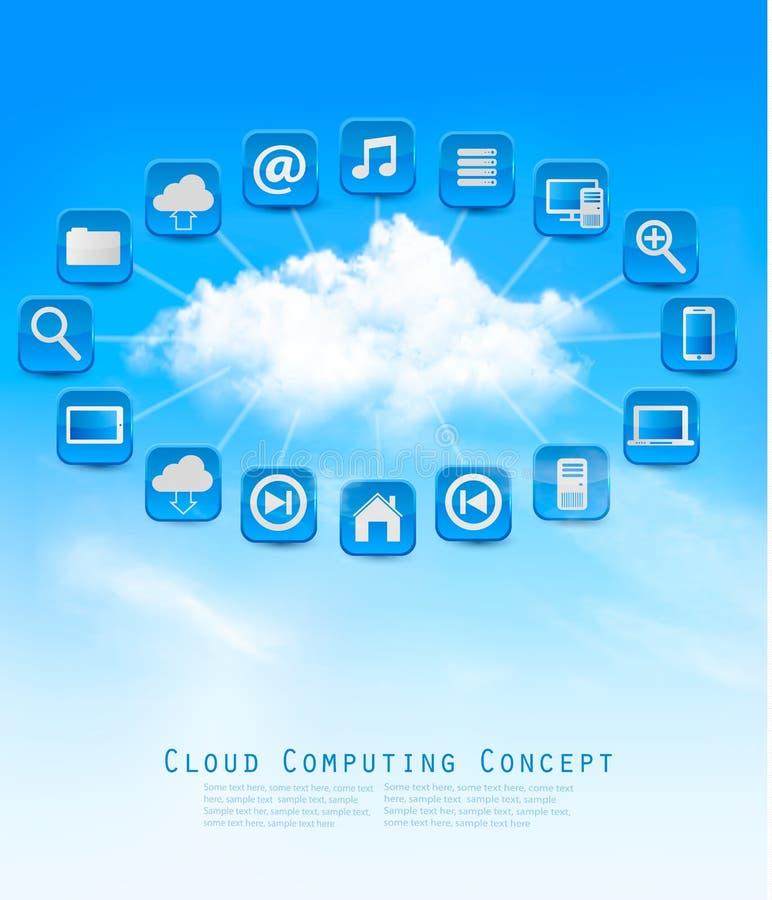 Beräknande begreppsbakgrund för moln med symboler Vektorillustrati stock illustrationer