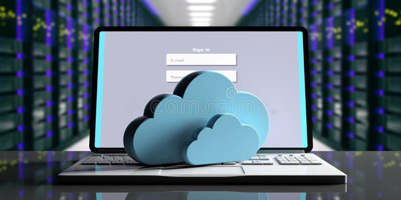 Beräknande datorhall för moln Lagringsmoln på en dator, datorhallbakgrund illustration 3d royaltyfri illustrationer