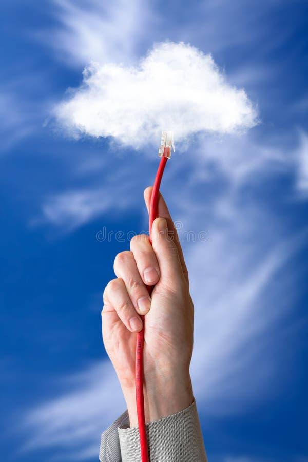 Beräknande förbindande Ethernetkabel för moln royaltyfria foton