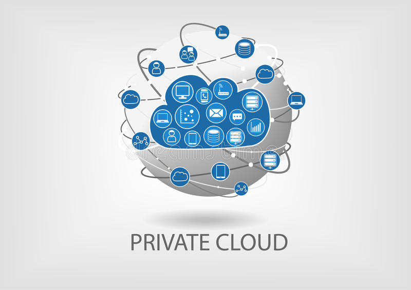 Beräknande illustration för privat moln i plan design med jordklotet vektor illustrationer