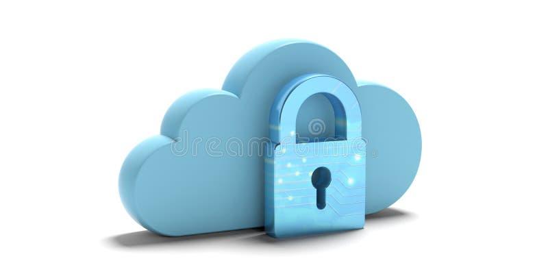 beräknande säkerhet för oklarhet Blått moln och hänglås som isoleras på vit bakgrund illustration 3d royaltyfri illustrationer