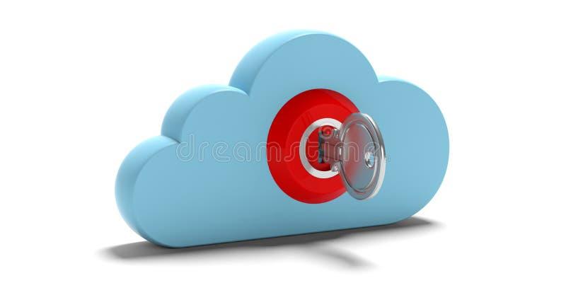 beräknande säkerhet för oklarhet Blått moln och keylock som isoleras på vit bakgrund illustration 3d royaltyfri illustrationer