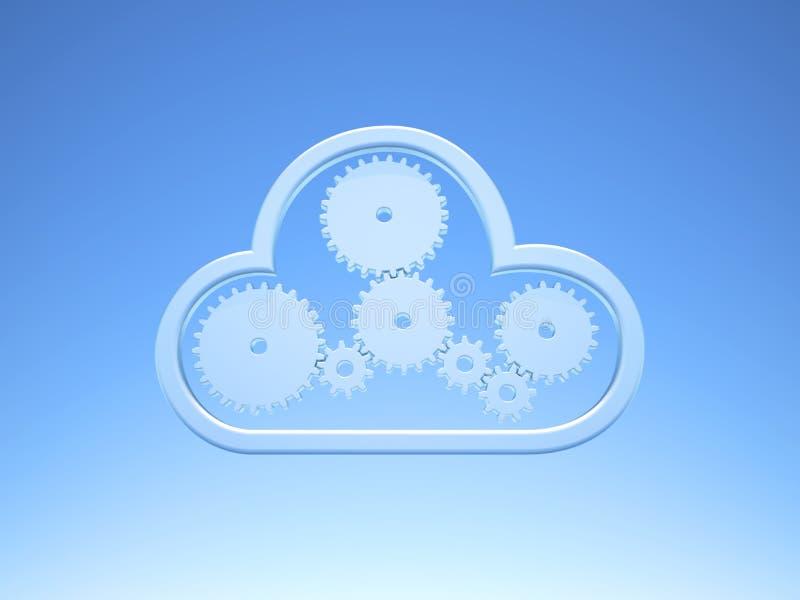 Beräknande symbol för metalliskt moln på blå himmel royaltyfri illustrationer