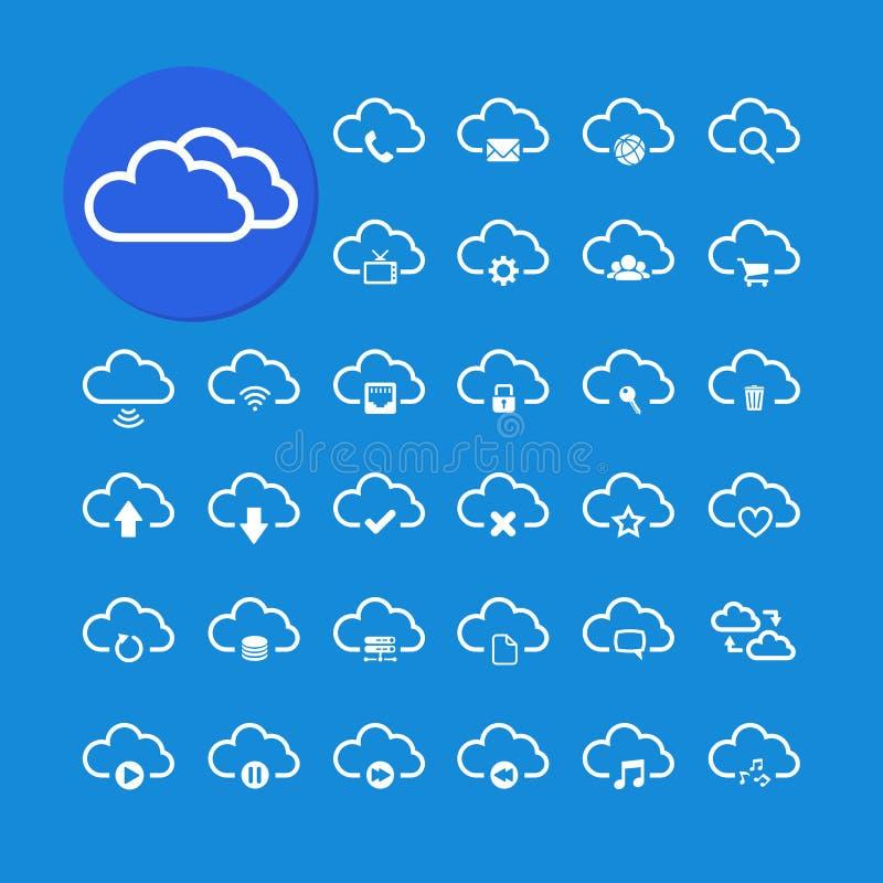 Beräknande symbolsuppsättning för moln, vektor eps10 vektor illustrationer