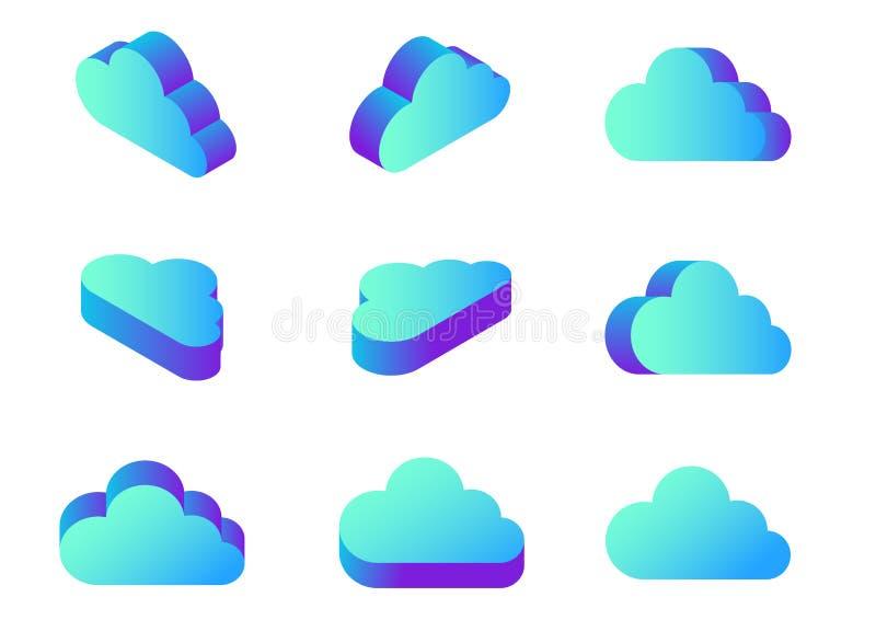 Beräknande symbolsvektor för isometriskt plant moln i dif vektor illustrationer