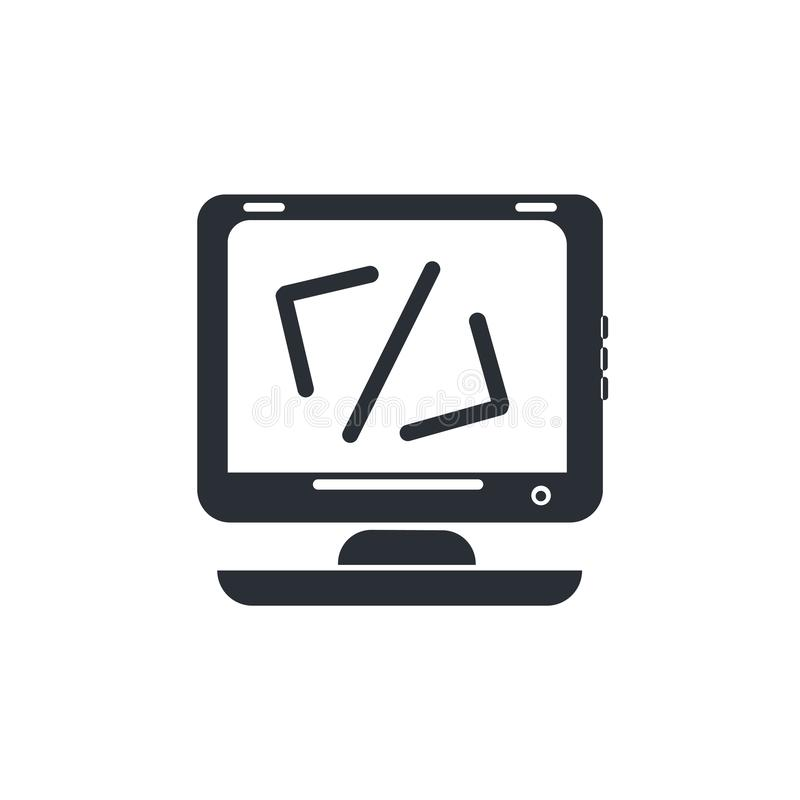 Beräknande tecken och symbol för kodsymbolsvektor som isoleras på vit bakgrund, beräknande kodlogobegrepp royaltyfri illustrationer