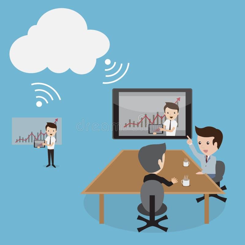 Beräkning för moln för videoconferencing stock illustrationer