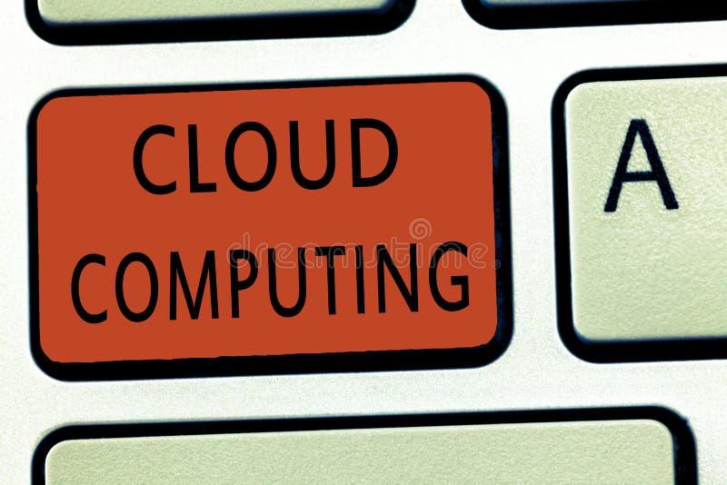 Beräkning för moln för ordhandstiltext Affärsidé för bruk ett nätverk av avlägsna serveror som vars värd på internet royaltyfria bilder