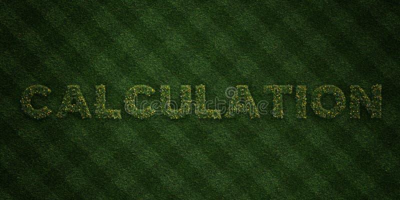 BERÄKNING - nya gräsbokstäver med blommor och maskrosor - 3D framförd fri materielbild för royalty stock illustrationer