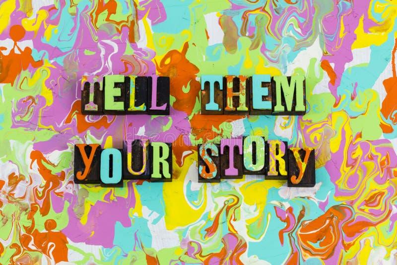 Berätta dem din berättelse stock illustrationer