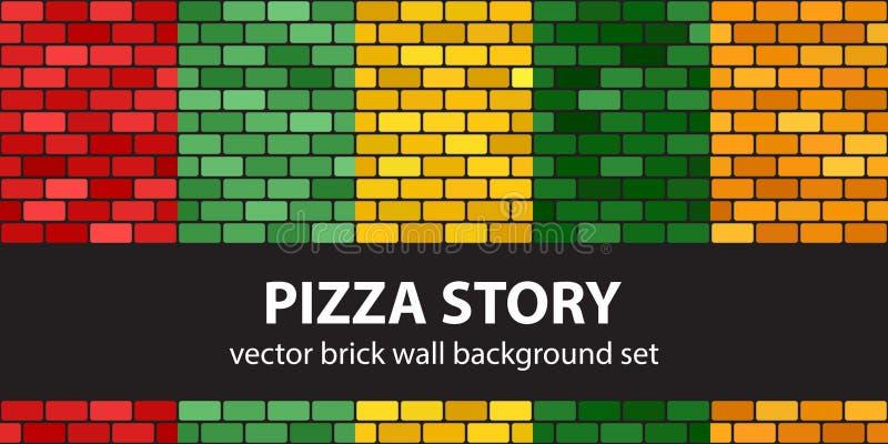 Berättelse för pizza för tegelstenmodelluppsättning För tegelstenvägg för vektor sömlös backgr vektor illustrationer