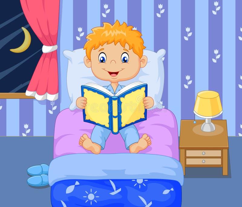 Berättelse för tid för säng för tecknad filmpojkeläsning vektor illustrationer