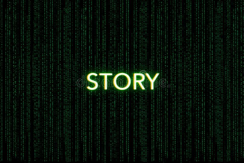 Berättelse nyckelord av klungan, på en grön matrisbakgrund arkivbild
