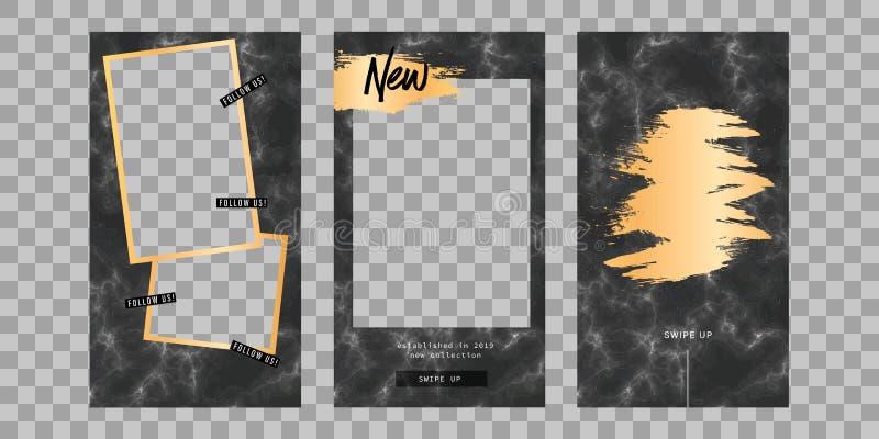 Berättelsemodell Redigerbar mall för sociala nätverksberättelser för ramhålet för bakgrund mönstrde härlig svart kpugloe fotoet V royaltyfri illustrationer