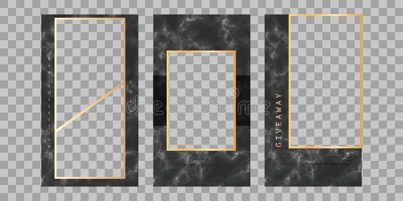 Berättelsemodell Redigerbar mall för sociala nätverksberättelser för ramhålet för bakgrund mönstrde härlig svart kpugloe fotoet V stock illustrationer