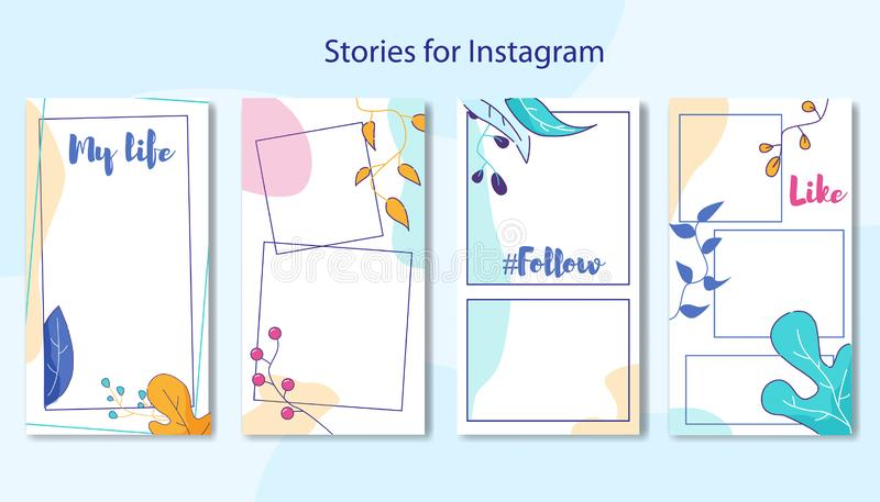 Berättelser för socialt massmedia ställde in ramen för den blom- designen royaltyfri illustrationer