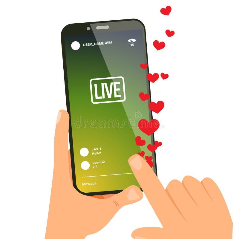 Berättelsevektor hands den mobila telefonen Skärm med online-strömmande video Socialt medelbegrepp Applikationmobil royaltyfri illustrationer