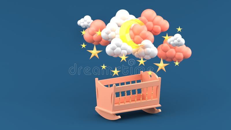 Berço cor-de-rosa do bebê sob nuvens, lua e estrelas no fundo azul fotografia de stock