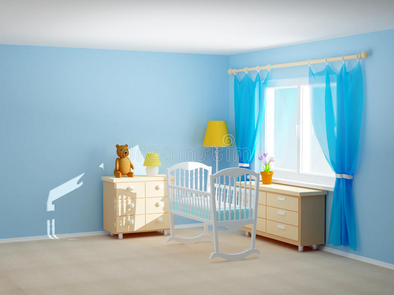 Berço da sala do bebê ilustração stock