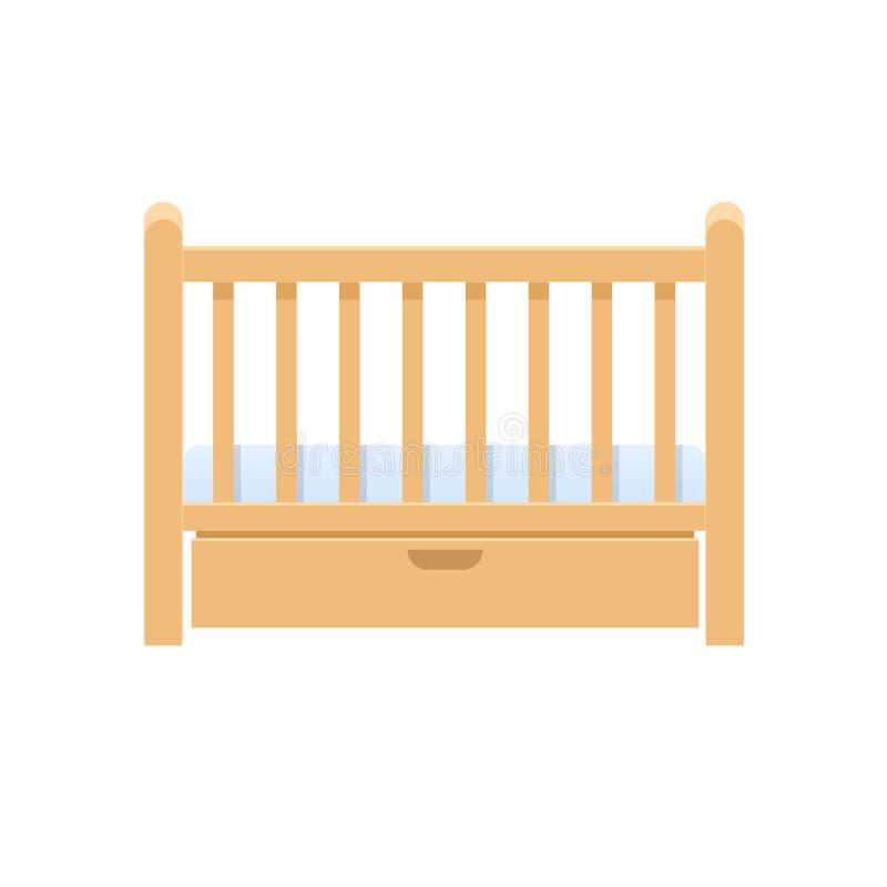 Berço de madeira retangular da cama, com descanso, colchão para infantes ilustração royalty free