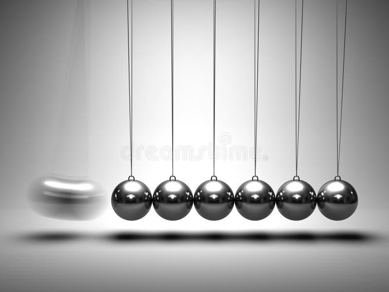 Berço de Newton de equilíbrio das esferas ilustração do vetor