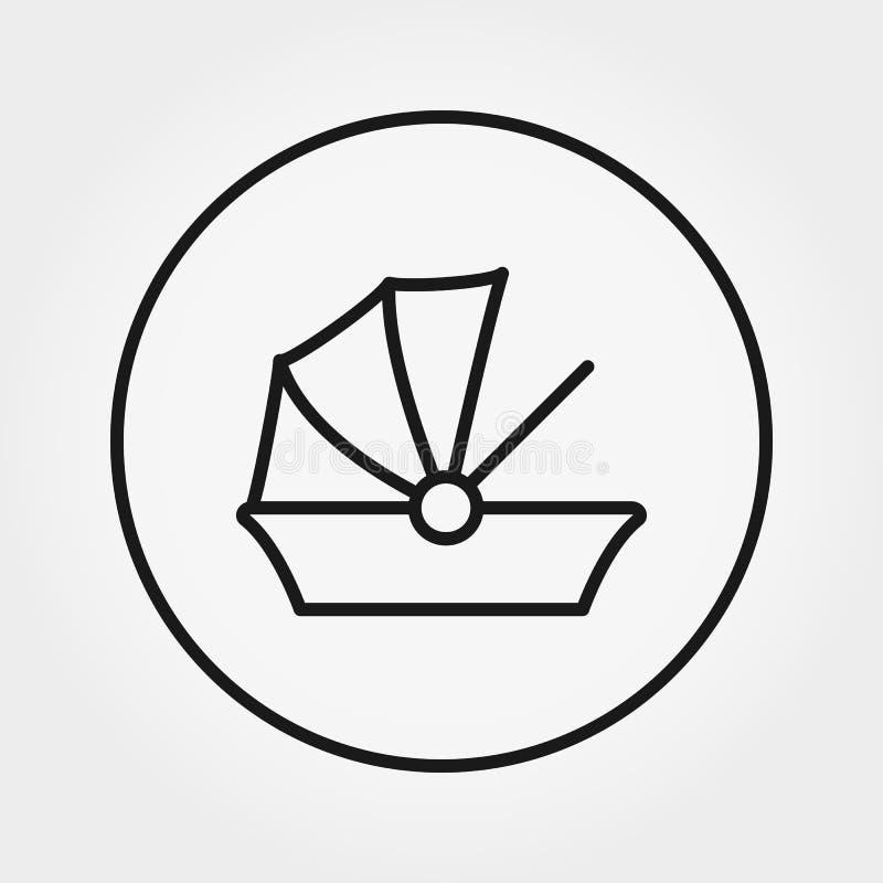 Berço do carro para o bebê Ícone universal para a Web e a aplicação móvel Ilustração do vetor em um fundo branco Linha fina editá ilustração royalty free