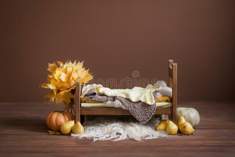 Berço para crianças recém-nascidas em um fundo marrom do chocolate com peras, abóboras fotos de stock royalty free